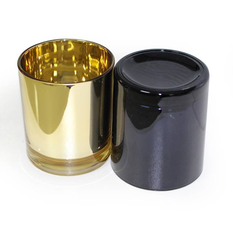China Supplier glass gold plated on inside candle tumbler candle holder/candle cup