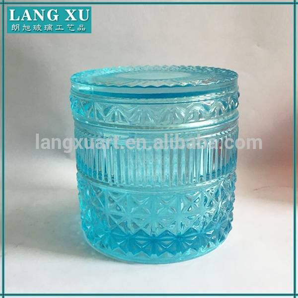 LXHY-KC008 embossed pattern vintage color customized home decorative candle glass jar