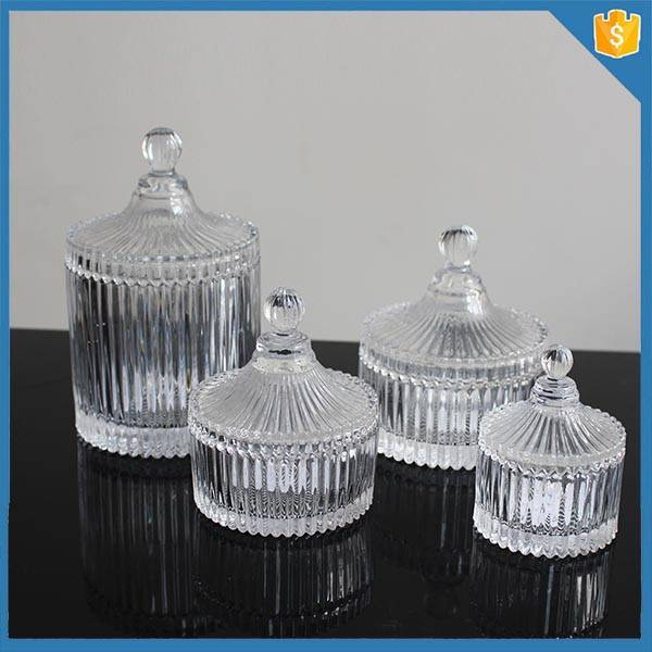 decorative fancy empty glass vintage candle jars and glass lids for scented candle