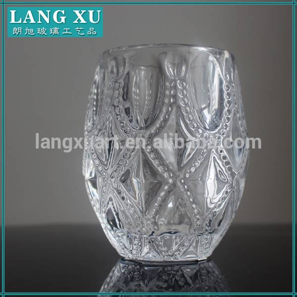 Diamond cut apiz lotus candle holder glass tumblers for candles