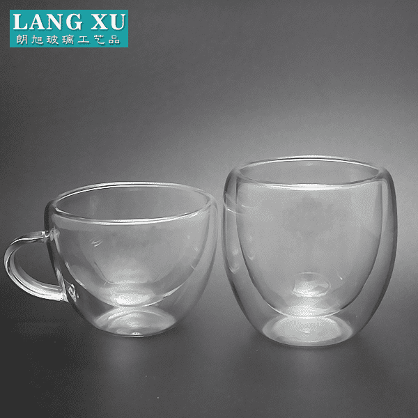 LX wholesale clear smooth simple double walled bulk glass coffee mug