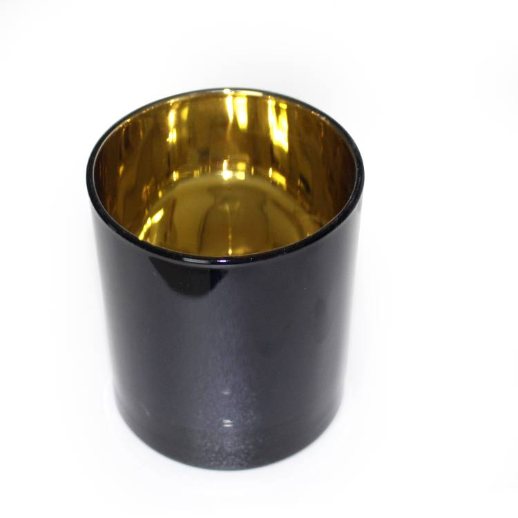 230ml,280ml,300ml,350ml inner gold plating outer opaque glossy black luxury cylider glass candle container jar