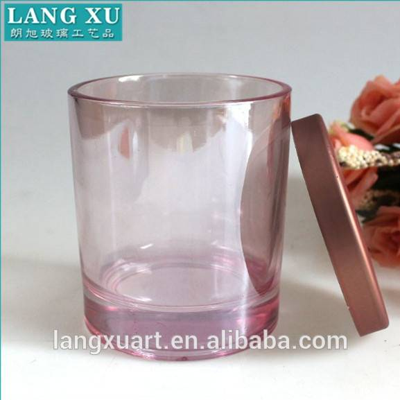 Langxu wholesale electroplated glass candle holder with rose gold metal lid