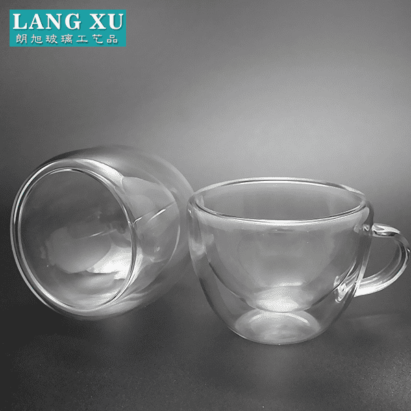 75ml small wholesale bulk clear double wall design glass coffee mug with handle