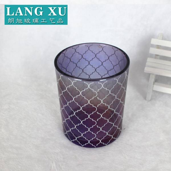 2018 220ml  purple ion plating luxury cylinder candle holder with white classic pattern