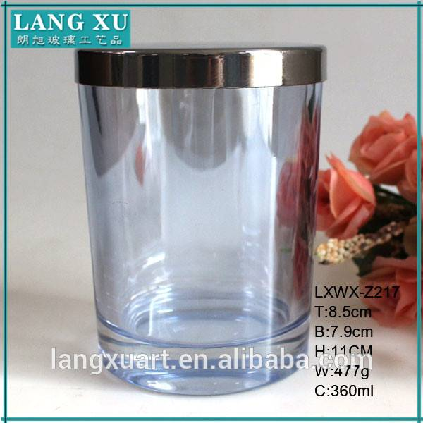 LX-Z217 machine pressed pink blue wax candle cup colored candle jars glass