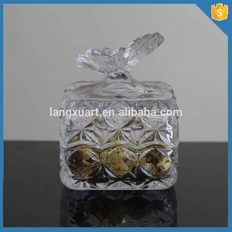 Popular Design Square crystal small glass containers for nuts with butterfly lid
