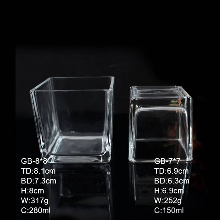 GB-8*8 7*7 clear empty square glass candle jars wholesale