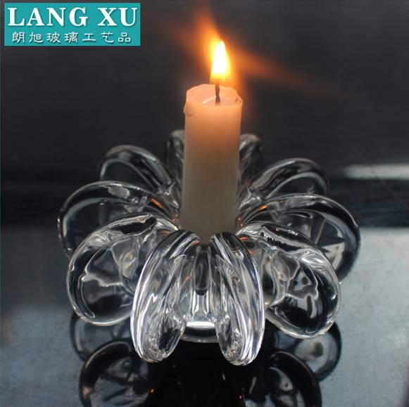 mexico chrysanthemum shaped clear glass candle holder