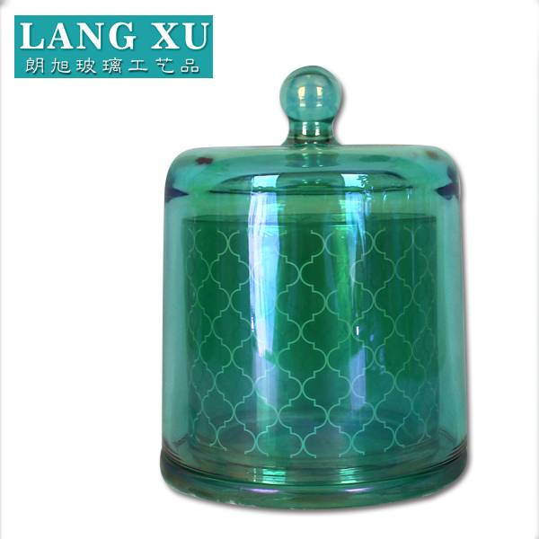 fancy green colored iron plated cloche shaped storage glass candle holder jar