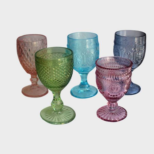 wholesale pressed glass water blue pink green color medieval wine goblets
