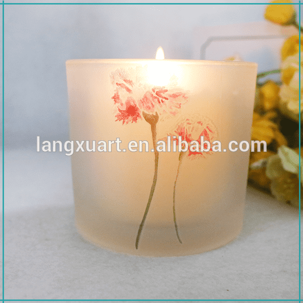 LX-067T matte white flower leaf glass holder for votive candle