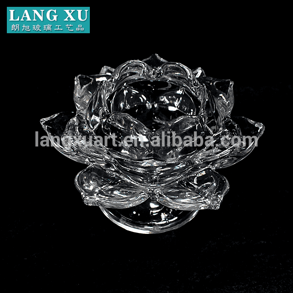 LXHY-KC-002 crystal clear lotus flower glass tealight candle holder with base