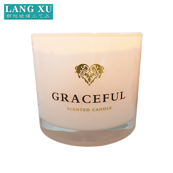 LX-FJ067 size 9.5x 8cm wax 245g burning time 40hours white color custom logo paraffin scented candle in glass jar