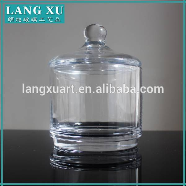 Round clear glass jar for candle