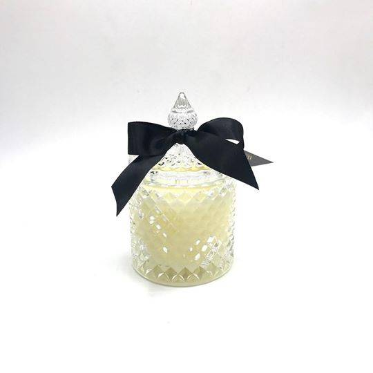 large luxury diamond cut lidded scented soy candle in steepletop black/white colored glass jar