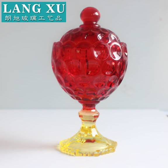Footed wholesale wedding favors tall red glass christmas lkuxury jewelry jar with lid