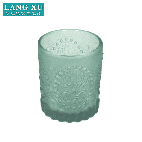 2018 green colore New vintage pattern glass beaded votive candle holders