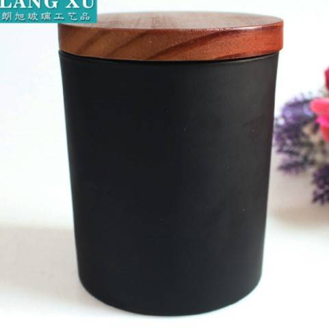 wholesale round unique matte black candle jars with lid
