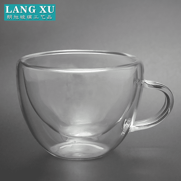 100ml clear  crystal double-well glass tea cup with handle