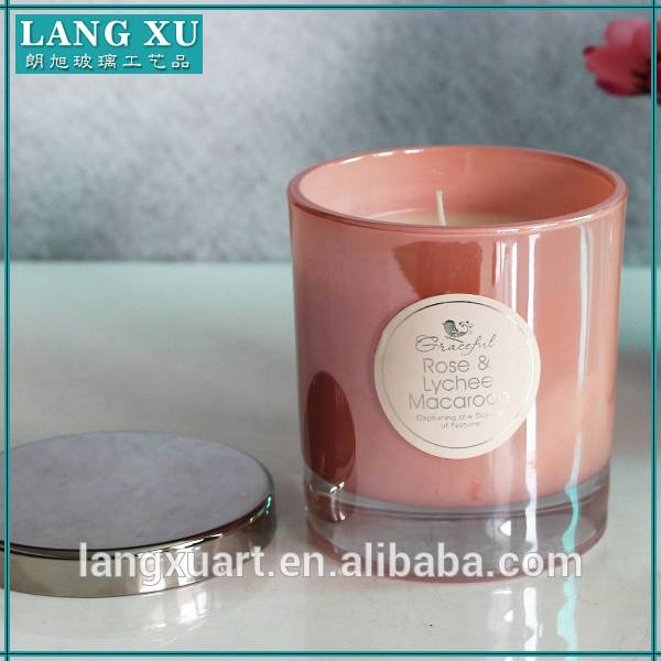 LX-GB016 thick ice bottom 8x9cm wax 185g candle pink glass candle jar