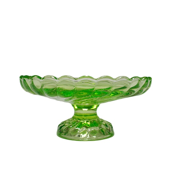 LX china manufacturer flower shape colored decoration glass candy plate with foot and base