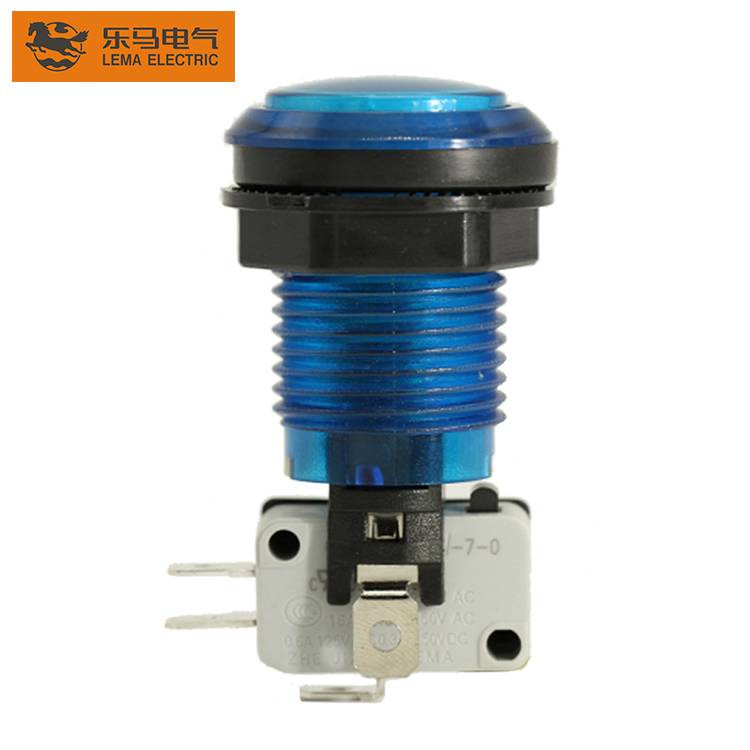 Lema PBS-003 blue led push button switch with micro switch for arcade machine Featured Image