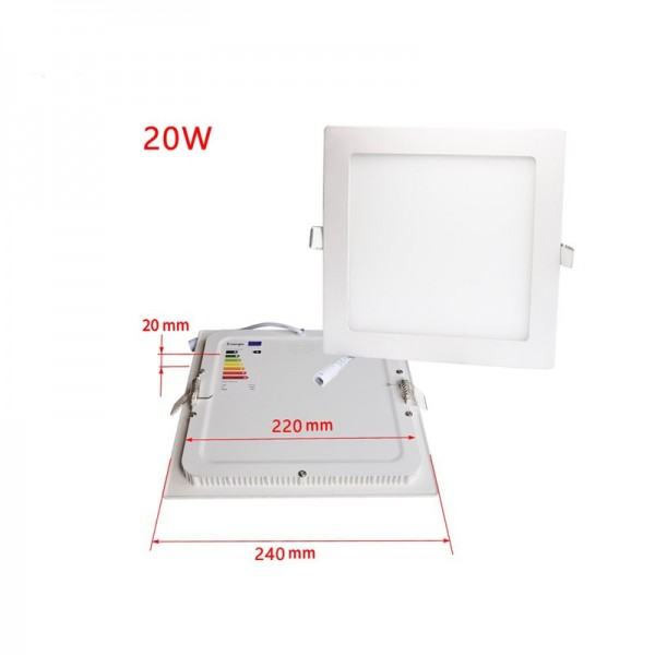Aluminum Housing 20W 240x240mm Square Shape Slim Flat LED Panel Downlight