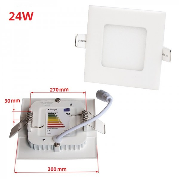 Non-Flicker 24W 30x30cm Square Dimming LED Panel Downlight