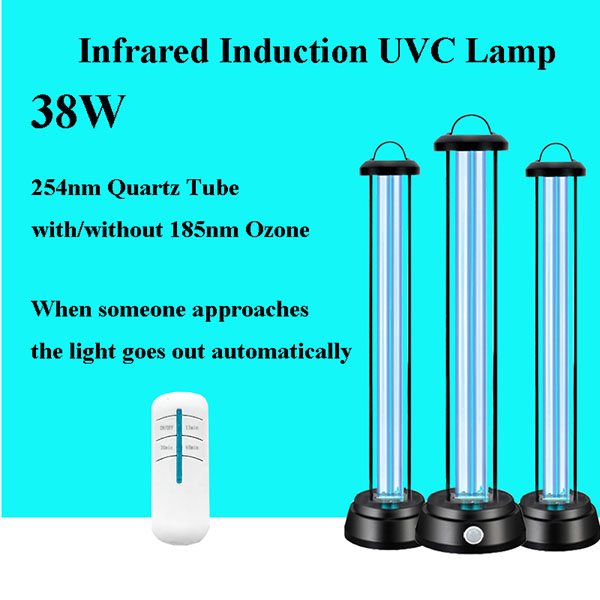 Newst 38w Infrared Induction Quartz Ultraviolet Disinfection UV Lamp Sterilization Sterilizer UVC Germicidal Light