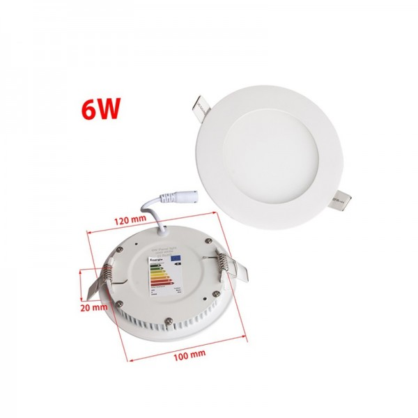 AC85-265V 6W 120mm Recessed Round LED Ceiling Panel Light