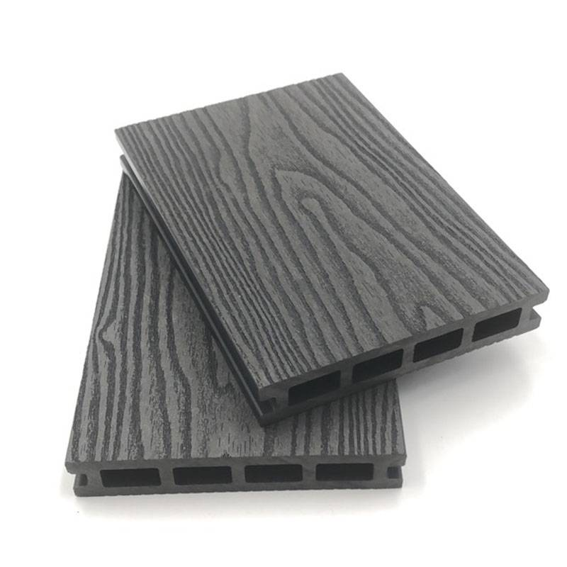 3D Deep Embossed Waterproof composite WPC Hollow Decking
