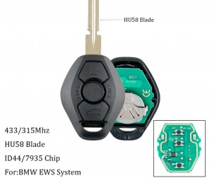 LOCKSMITHOBD BMW EWS Remote Key 3 Button ID44 PCF7935 Chip 315MHZ/433MHZ HU58
