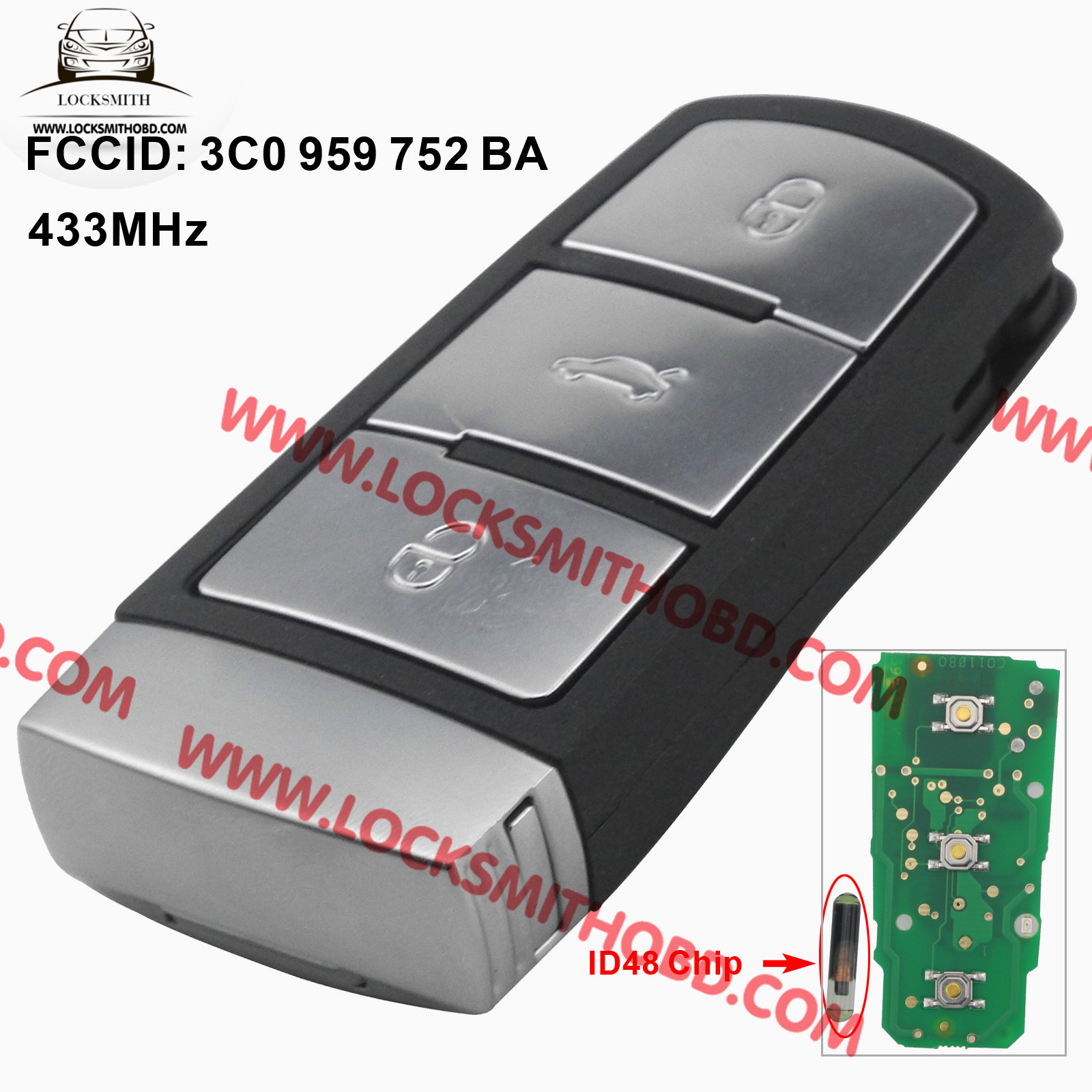 LOCKSMITHOBD VW Passat 3 Buttons remote key 3C0959752BA / AD Remote 433Mhz
