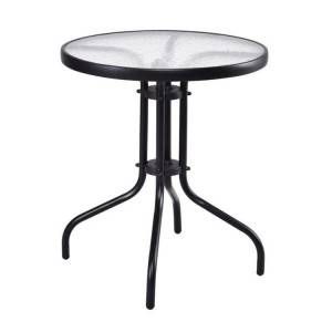 Outdoor garden patio steel glass table (rolled edge for water proof)