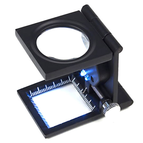 10 times folding type metal frame holder magnifying glass with LED light