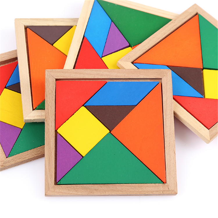 Hot sale tangram puzzle for kids educational 3d puzzle toy seven-pieces wooden puzzle