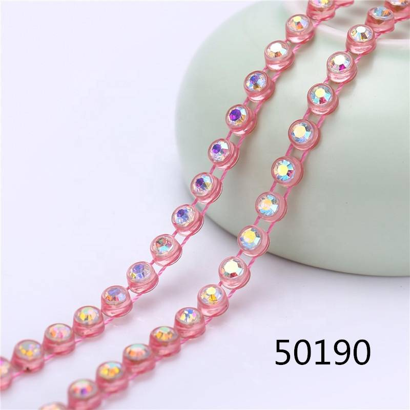 Better Quality Transparent Ss12 Ss8 Banding By The Yards Hotsale Trimming Garment Decoration Trim Plastic Rhinestone Chain