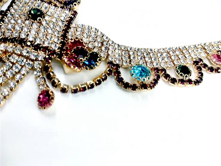 Newest fashion 2019 lady popular european italy rhinestone chain women necklace