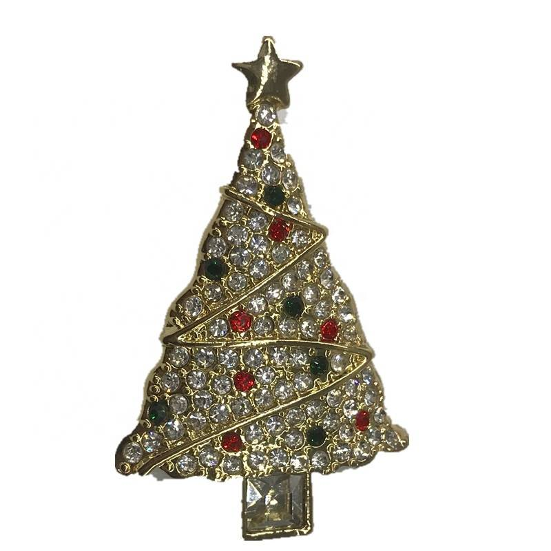 Wholesale Shanny Golden Plating Multi Color Crystal Beads Pave Christmas Tree Alloy Brooches For Women