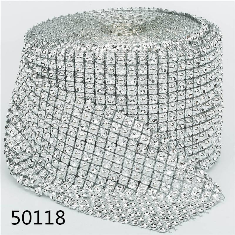 14 Rows 10 Yards Wholesale Cheap Price Silver Decorative Rhinestones Mesh Trim Diamond Net Ribbon Decorative