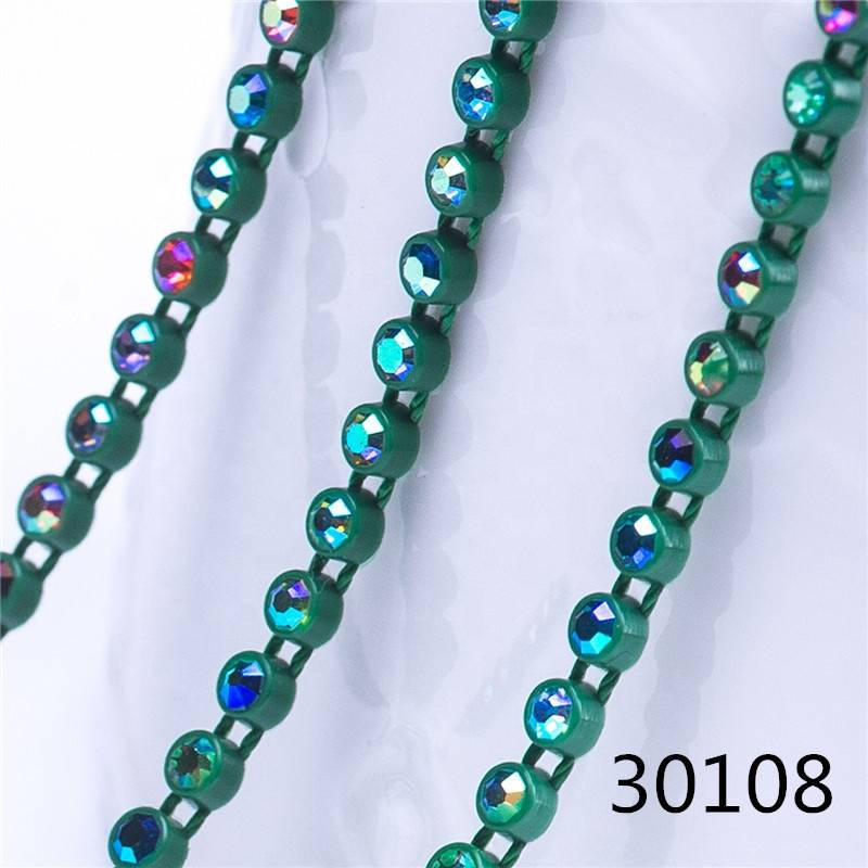 Top Quality Wholesale SS8 Plastic Chain Trimming Rhinestone  Banding For Jeans
