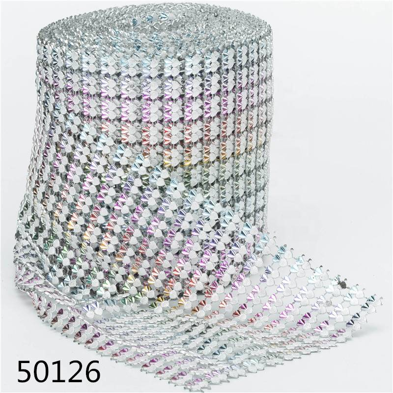Wholesale Wedding Decorative Plastic 11  Rows Heart-shaped Rhinestone Trimming for Garment