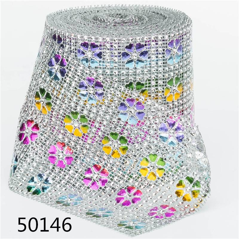 4 Rows Silver Color Heart Clover Shape Rhinestone Mesh High Quality Rhinestone Ribbon Mesh for Diy Decoration