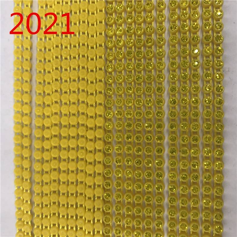 Factory Wholesale All Types of Beads Colors Plastic Crystal Rhinestone Banding for Tornasol Fabric 10 yards per card