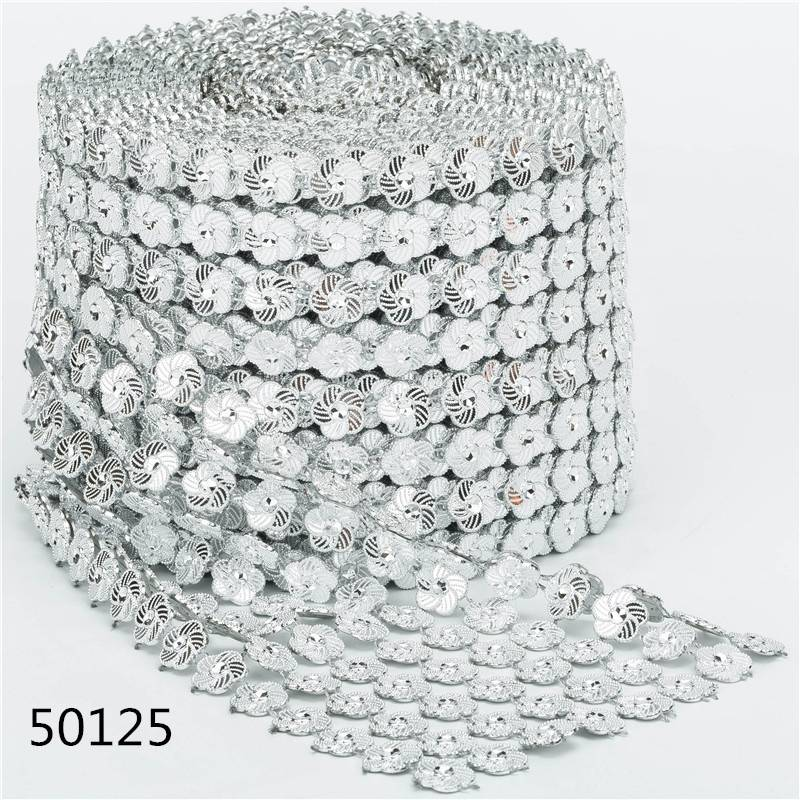 Silver Flower 8 Rows 10 Yards Decorative Rhinestones Mesh Trim Diamond Net Ribbon Wrap Decorative