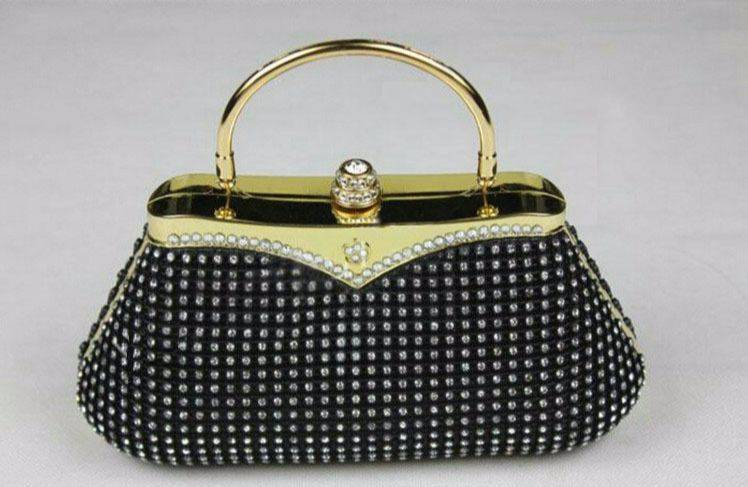 Customized high quality factory chain cup bags rhinestone mesh roll