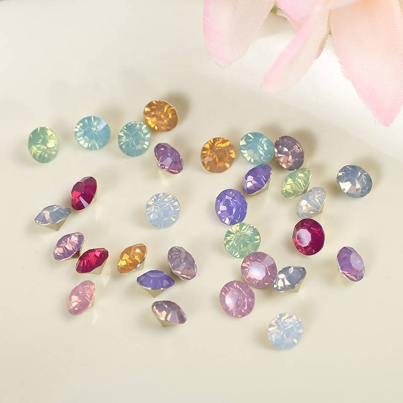 Glass Opal Pointback Rhinestone Round Crystal Rhinestone Stones For Decoration