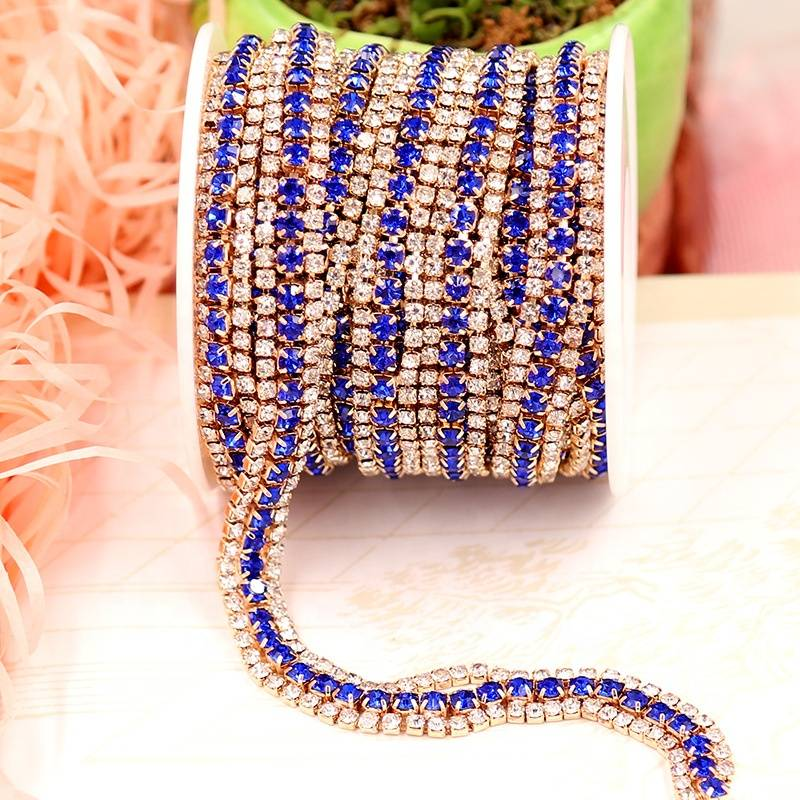 Fashion Multi Colors Rhinestone Brass Trimming Strass Chain for Dress