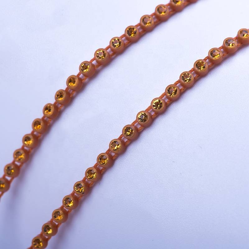 High Quality Stone Chain Plastic Rhinestone Banding Trimming for Dress